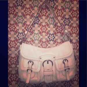 Authentic Vintage Coach white leather soho hobo